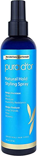 PURA D'OR Natural Hold Volumizing Styling Hair Spray for Added Volume, Infused with Aloe Vera Biotin & Natural Ingredients, 8 Fl Oz