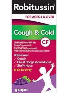Robitussin CF Children's Cough & Cold Liquid, Grape Flavor 4 oz (Pack of 2)