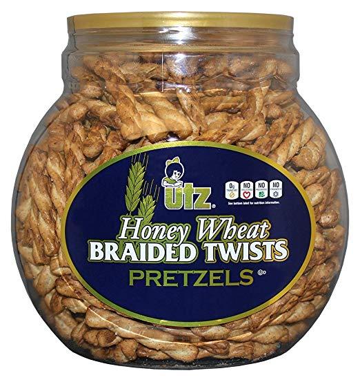 Utz Honey Wheat Braided Pretzel Twists – 26 oz Barrel – Sweet Honey Taste, Thick, Crunchy Pretzel Twists, Perfect for Dipping and Snacks, Zero Cholesterol Snack Food