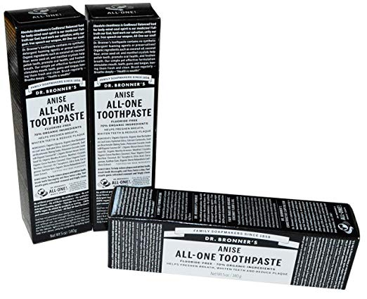Dr. Bronner's Peppermint Toothpaste. Fluoride-Free Natural Toothpaste with Organic Ingredients (5 Ounce).