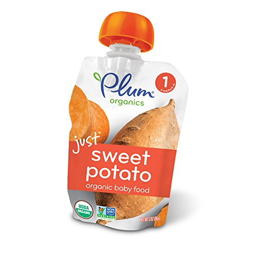 Plum Organics Stage 1, Organic Baby Food, Just Sweet Potato, 3 Oz, Pack fo 12 (Packaging May Vary)