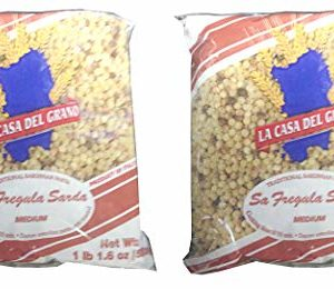 La Casa Del Grano, Traditional Sardinian Pasta (Giant Couscous) (Pack of 2), Imported from Italy, 17.64 oz (each)