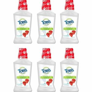 Tom's of Maine Kids Mouthwash, Silly Strawberry Natural Mouthwash, Alcohol Free Mouthwash, 16 Ounce 6-Count