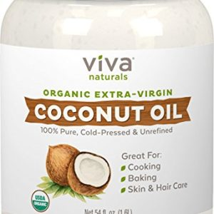 Viva Naturals Organic Extra Virgin Coconut Oil (54 oz) - Non-GMO Cold Pressed for Cooking & Baking Pie & Pastry