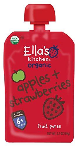 Ella's Kitchen 6+ Months Organic Baby Food, Apples + Strawberries, 3.5 oz. (Pack of 6)
