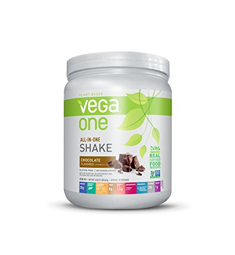 Vega One All-In-One Nutritional Shake Chocolate (1 lb, 10 Servings) - Plant Based Vegan Protein Powder, Non Dairy, Gluten Free, Non GMO