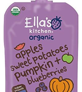Ella's Kitchen Organic 6+ Months Baby Food, Apples Sweet Potatoes Pumpkin & Blueberries, 3.5 oz. Pouch (Pack of 6)