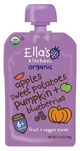 Ella's Kitchen Organic 6+ Months Baby Food, Apples Sweet Potatoes Pumpkin & Blueberries, 3.5 oz. Pouch (Pack of 6)