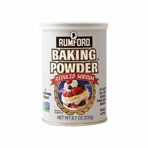 Rumford Reduced Sodium Baking Powder 8.1oz, NON-GMO Gluten Free, Vegan, Vegetarian, Double Acting Baking Powder in a Resealable Can with Easy Measure Lid, Kosher, Halal
