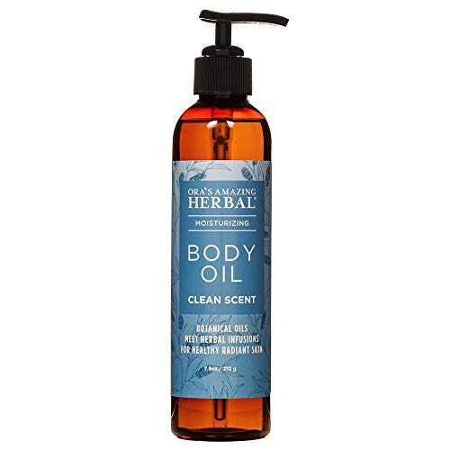 Moisturizing Body Oil For Men and Women, Dry Skin, Natural Massage Oil, Paraben Free Natural Vegan Body Oil With Pump, Organic Jojoba and Apricot Oil Calendula,Or'ss Amazing Herbal