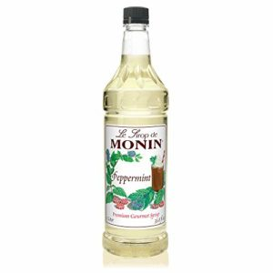 Monin - Peppermint Syrup, Cool Tingle of Candy Cane, Natural Flavors, Great for Cocoas, Mochas, Smoothies, and Sodas, Vegan, Non-GMO, Gluten-Free (1 Liter)