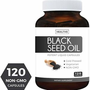 Black Seed Oil - 120 Softgel Capsules (Non-GMO & Vegetarian) Premium Cold-Pressed Nigella Sativa Producing Pure Black Cumin Seed Oil with Vitamin E - Made in The USA - 500mg Each, 1000mg Per Serving