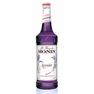Monin - Lavender Syrup Box Set, Aromatic and Floral, Natural Flavors, Great for Cocktails, Lemonades, and Sodas, Vegan, Non-GMO, Gluten-Free, Includes BPA Free Pump and Box (750 ml)