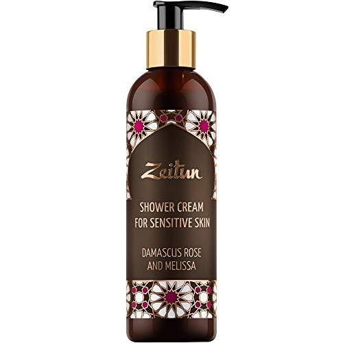 Zeitun Shower Gel - Body Wash for Women - Luxury Shower Cream For Sensitive Skin - Sulfate Free Body Wash - Natural Damascus Rose & Melissa Bath Gel - Aromatherapy, 8.4 oz (Damascus Rose)