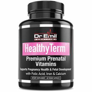 Dr. Emil - Prenatal Vitamins for Fetal & Pregnancy Health with Folic Acid, Iron, Calcium & Antioxidants - Non-GMO, Gluten & Dairy Free (60 Vegetarian Capsules)