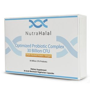 NutraHalal Optimized Probiotic Complex - Halal DNA Tested for Men, Women and Children - 30 Count