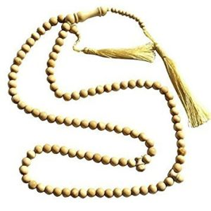 Natural Color Yellow Citrus Wood Tasbih - 8mm 99-Bead Prayer Beads - Worry Beads with 2 Beuitiful Tassels