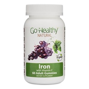 Go Healthy Natural Iron Gummies with Vitamin C, B12, Folic Acid, Vegan, OU Kosher, Halal (60ct) 30 Servings
