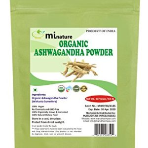 mi nature USDA Certified Organic Ashwagandha Root Powder(Organic),Indian Ginseng(WITHANIA SOMNIFERA) / Pure, Natural and Organic - (227g / (1/2 lb) / 8 Ounces) - Resealable Zip Lock Pouch
