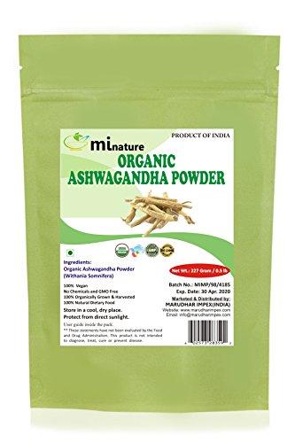 mi nature USDA Certified Organic Ashwagandha Root Powder(Organic),Indian Ginseng(WITHANIA SOMNIFERA) / Pure, Natural and Organic - (227g / (1/2 lb) / 8 Ounces) - Resealable Zip Lock Pouch