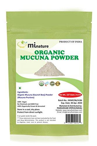 Organic Mucuna Powder/Kapikachhu, Kaunch, Mucuna Pruriens - Herbal Supplement by mi nature 227 Gram/0.5 lb