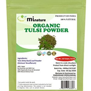 Organic Tulsi Leaves Powder (Ocimum Sanctum) by mi nature - 227 g / 8 OZ / 1/2 lb | USDA NOP Certified 100% Organic | Vegan | Non GMO