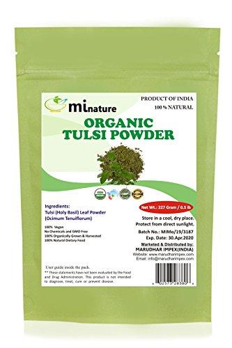 Organic Tulsi Leaves Powder (Ocimum Sanctum) by mi nature - 227 g / 8 OZ / 1/2 lb | USDA NOP Certified 100% Organic | Vegan | Non GMO