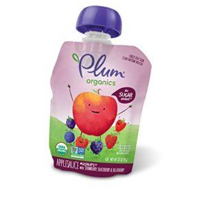 Plum Organics Mashups, Organic Kids Applesauce, Strawberry Blackberry & Blueberry, 3.17 ounce pouch, 4 count