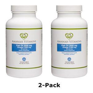 AMANAH VITAMINS Omega 3 Fish Oil 2000 mg - HALAL VITAMINS - 120 Softgels (2 Pack)