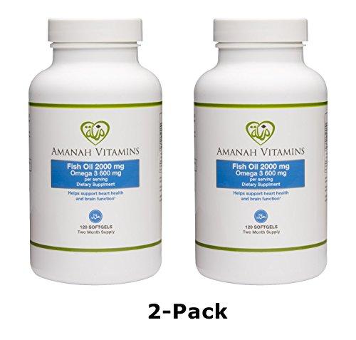 AMANAH VITAMINS Omega 3 Fish Oil 2000 mg – HALAL VITAMINS – 120 Softgels (2 Pack)