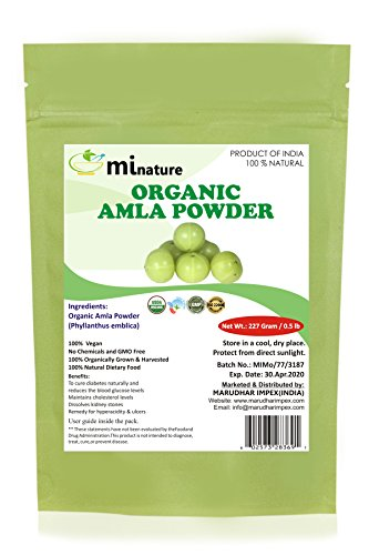 mi nature USDA Organic Amla Powder (Amalaki),227 gm / 0.5 lb, Powerful Immune System and Energy Booster, 100% Raw Superfoods From India, Non-Irradiated, Non-Contaminated, Non-GMO and Vegan Friendly