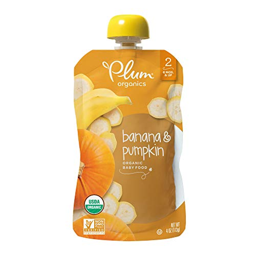 Plum Organics Stage 2, Organic Baby Food, Banana and Pumpkin, 4 ounce pouches (Pack of 12) (Packaging May Vary)