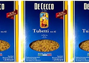 De Cecco, Tubetti No. 62 Pasta (Pack of 3), Imported from Italy, 16 oz (each)