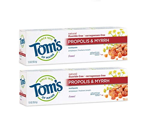 Tom's of Maine Antiplaque Fluoride-free Fennel Toothpaste with Propolis and Myrrh, 5.5 Ounce, 2 Count