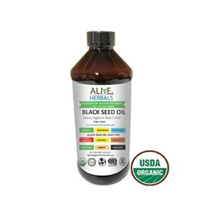 Alive Herbal Black Seed Oil - Egypt- Nigella Sativa - Virgin 100% Raw Organic Cold Pressed, Unfiltered, Vegan & Non-GMO, No Preservatives & Artificial Color- BPA Free Food Grade Plastic Bottle- 16 OZ.