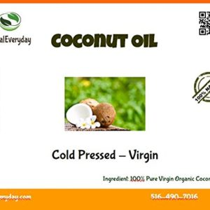 Extra Virgin Coconut Oil - Cold Pressed - 100% Pure, Moisturizing Oil, 16 Oz - Non GMO - Vegan and Halal - 76 Degree Melting Point