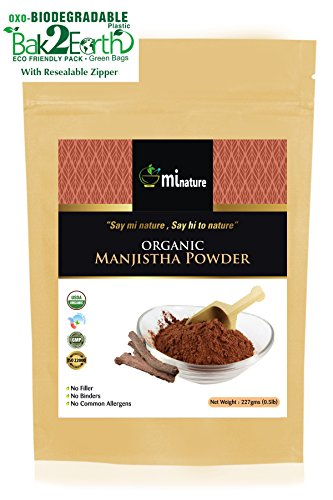 USDA Certified Organic Manjistha Root Powder, Rubia Cordifolia by mi nature, 100% Pure & Natural - 227g / 1/2 lb / 8 Ounces) in OXO/Biodegradable resealable Zip Lock Pouch