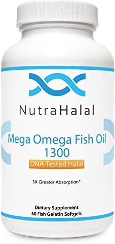 NutraHalal Mega Omega Fish Oil 1300 - Halal DNA Tested - Gluten Free - Supports Cardiovascular and Mental Health - 60 Count