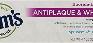 Tom's of Maine Natural Antiplaque and Whitening Fluoride Free Toothpaste, Spearmint Gel, 4.7 Ounce