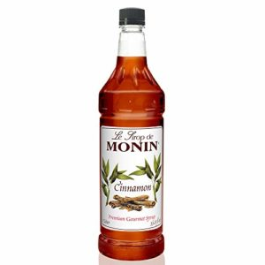 Monin - Cinnamon Syrup, Sweet and Spicy Taste of Cinnamon, Versatile Flavor, Natural Flavors, Great for Coffees, Cocoas, Ciders, and Cocktails, Vegan, Non-GMO, Gluten-Free (1 Liter)