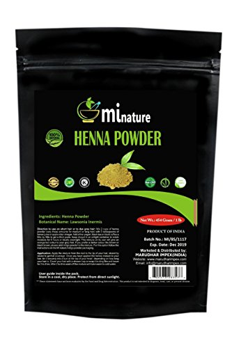 mi nature Henna Powder (LAWSONIA INERMIS)/ 100% Pure, Natural and Organic from Rajasthan, India (454g / (1 lb) / 16 ounces) - Resealable Zip Lock Pouch For Hair Dye/Color