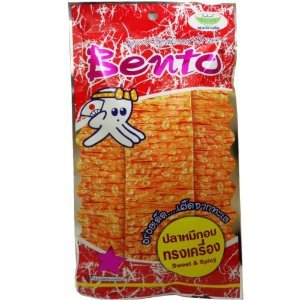 Bento Squid Seafood Snack Sweet & Spicy Wt 24 G (0.85 Oz) X 5 Bags