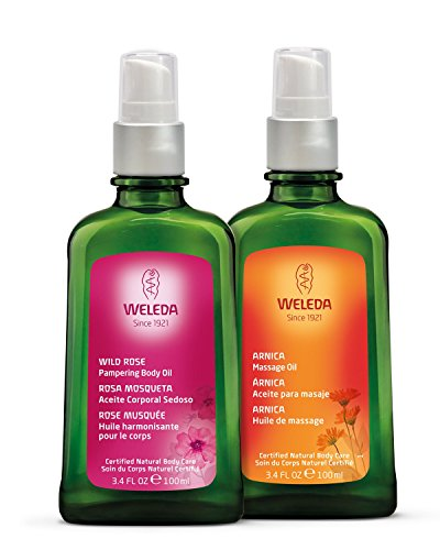 Weleda Beauty and Body Oil 2-Piece Set: Arnica Massage Oil and Wild Rose Body Oil, 3.4 Fl. Oz (Pack of 2)