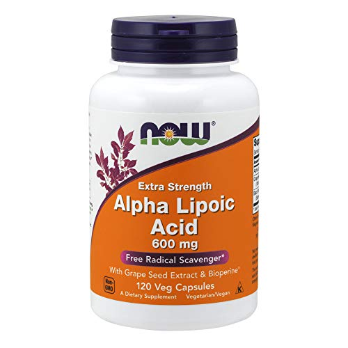 Now Supplements, Alpha Lipoic Acid 600 mg with Grape Seed Extract & Bioperine, Extra Strength, 120 Veg Capsules