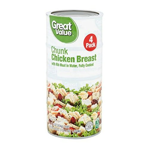 Great Value Fully Cooked Chunk Chicken Breast with Rib Meat in Water