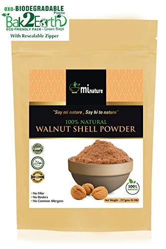 mi nature natural Walnut Shell Powder - No Silica or Any Artifical Additives - For Homemade Natural Scrub Formula - 227g / 1/2 lbs / 8 oz, Eco friendly Pack