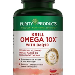 Krill Omega 10X More EPA & DHA with CoQ10 Super Formula from Purity Products. 60 Soft GELS