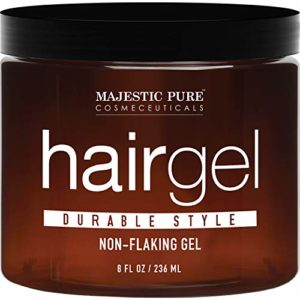 MAJESTIC PURE Hair Gel for Men - Durable Hold Styling - Light Sheen, Refreshing Scent, Non-Flaking, Paraben Free, 8 fl oz