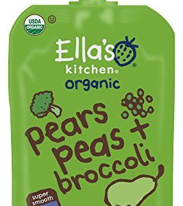 Ella's Kitchen 4+ Months Organic Baby Food, Pears Peas + Broccoli, 3.5 oz (Pack of 6)