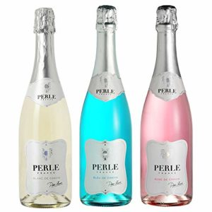 Pierre Chavin Perle Blanc, Perle Bleu and Perle Rose Non-Alcoholic Sparkling Wine Pack 750ml (3 Bottles)